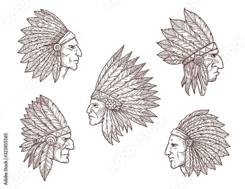 Native american chief sketches Wallpaper Mural