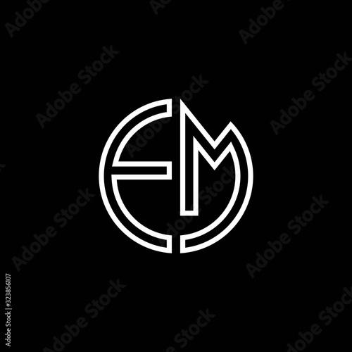 Photo EM monogram logo circle ribbon style outline design template