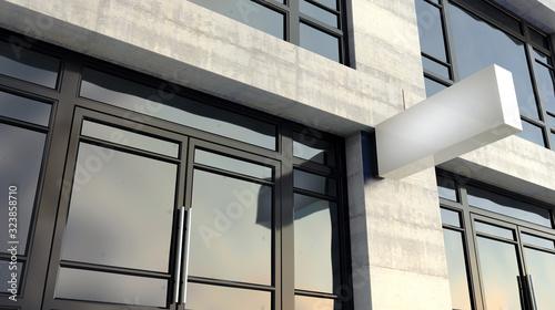 Obraz Rectangular Lightbox Sign Outside Shop Facade - fototapety do salonu