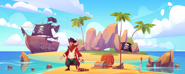 Pirate on island with treasure, bearded smiling filibuster captain with hook hand and wooden leg prosthesis on tropical beach with palm tree and chest with gold near ship Cartoon vector illustration
