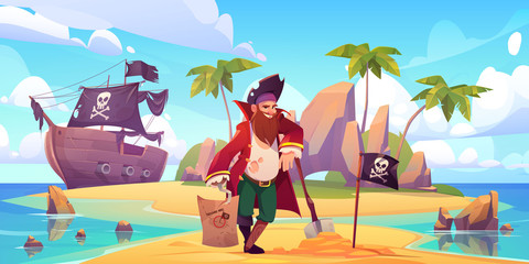 Pirate buried treasure chest on island beach. Vector cartoon character with h...