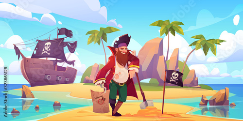 Canvas Print Pirate buried treasure chest on island beach