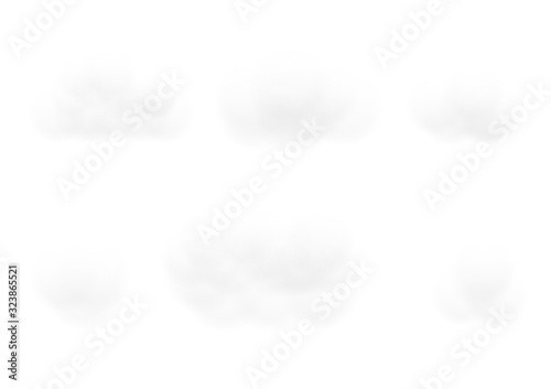 Realistic white cloud vectors isolated on opacity white background, Fluffy cubes Canvas-taulu
