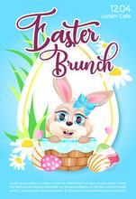 Easter Brunch Poster Flat Vect...