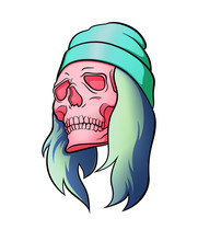 Pink Skull Girl With Hat And Long Hair Looking To The Left. Raster Illustration Isolated On White Background. Fancy Colors. Halloween Symbol. For Tattoo Or T Shirt Design And Printing. Logo Concept