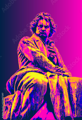 Ludwig van Beethoven, pop art Canvas Print