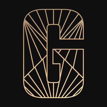 Laser Cutting Letter G. Art Deco Vector Design. Plywood Lasercut Gift. Pattern For Printing, Engraving, Paper Cut. Luxury Royal Design.