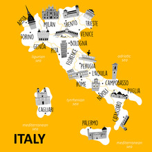 Stylized Map Of Italy With Mai...