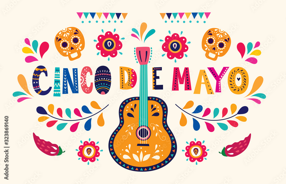 Fototapeta Beautiful vector illustration with design  for Mexican holiday 5 may Cinco De Mayo. Vector template with traditional Mexican symbols skull, Mexican guitar, flowers, red pepper
