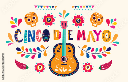 Fototapeta Beautiful vector illustration with design  for Mexican holiday 5 may Cinco De Mayo
