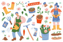 Gardening Scene Creator. Vector Illustrations Of People In Garden With Tools, Plants, Equipment And Supplies, Cute Hand Drawn Cartoon, Woman And Man Working In Garden, Spring Flowers, Vector Clip Art