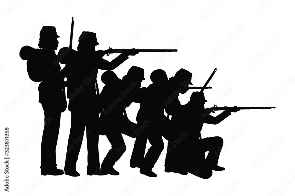 Fototapeta Civil war soldier troop silhouette vector