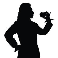 Scientist With Apple Silhouett...