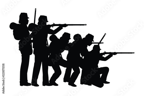 Fotografering Civil war soldier troop silhouette vector