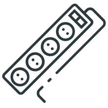 Electrical Extension Lead Line Icon On White Background