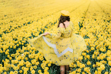 Happy Woman In Daffodil Field With Yellow Umbrella. Tulip Festival Near Seattle, Washington, United States, Spring Blossom Fieald In Netherlands, Holland, Model From Back, No Face, Free Country Life
