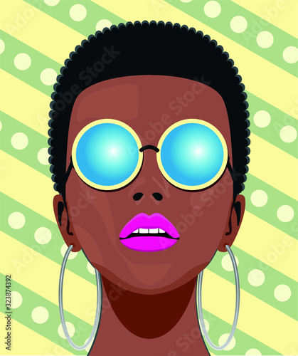 Canvas Print Mujer africana guapa con gafas
