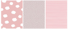 Cute Pastel Color Geometric Seamless Vector Patterns.White Polka Dots On A Beige Background. White Stripes And Fluffy Clouds Isolated On A Light Pink Background. Lovely Infantile Style Nursery Print.