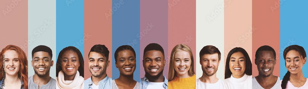 Fototapeta Composite image of international students photos over diverse backgrounds