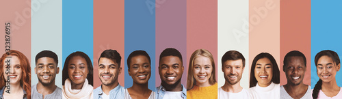 Obraz na plátně Composite image of international students photos over diverse backgrounds