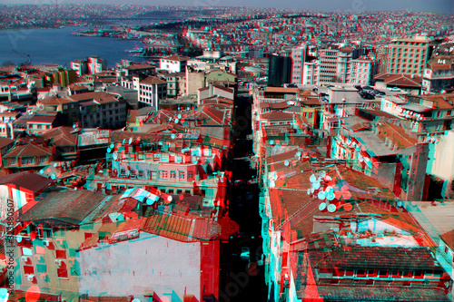 3D, anaglyph, stereographic, three-dimensional, depth, glasses, blue, red, photo Canvas Print