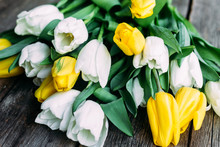 Bouquet Of White And Yellow Tu...