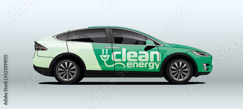 Fototapeta Electric car in vector. Side view with perspective. obraz
