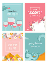 Passover Greeting Car Set. Seder Pesach Invitation, Greeting Card Template Or Holiday Flyer. Happy Passover In English And Hebrew.