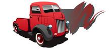Vintage Red Truck. Vector Illustration.