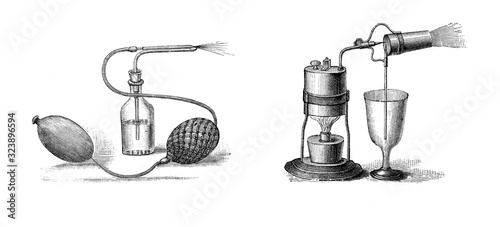 Photo Parfume atomizer / perume bottle with tomizer / Antique engraved illustration fr