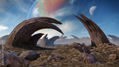 Canvas alien planet landscape, strange rock formations on the surface of an exoplanet