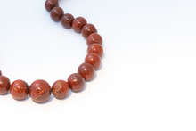 Brown Jasper Beads Isolated On...