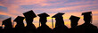 canvas print picture - Silhouettes of students with graduate caps in a row on sunset background. Graduation ceremony at university web banner.