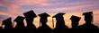 Leinwandbild Motiv Silhouettes of students with graduate caps in a row on sunset background. Graduation ceremony at university web banner.