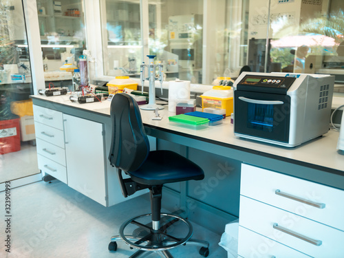 Fototapeta Closeup image of medical reserach laboratory with special science equipment obraz