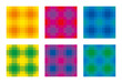 Six colorful check pattern, seamless square tiles. Also called checker or chequer. Step patterns are textures, used for textiles. Horizontal and vertical lines forming squares. Illustration. Vector.