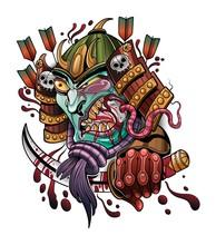 Scary Japanese Demon Samurai E...