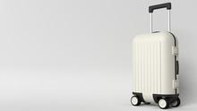 White Luggage Bag On Grey Back...