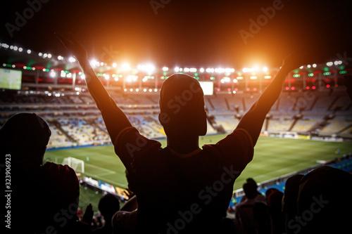 Obraz na plátně Football fans support team on crowded soccer stadium.