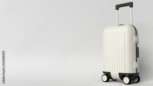Photo White luggage bag on grey background with space for text, perspective view