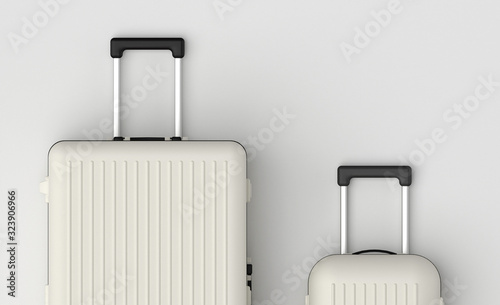 Photo Travel luggage set, big and small suitcase, baggage set in black and white classic colors, front view