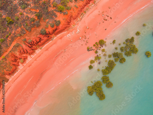 Obraz na plátně Roebuck bay in broome, western australia as seen from the air