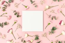 Square Paper Card Mockup. Flor...