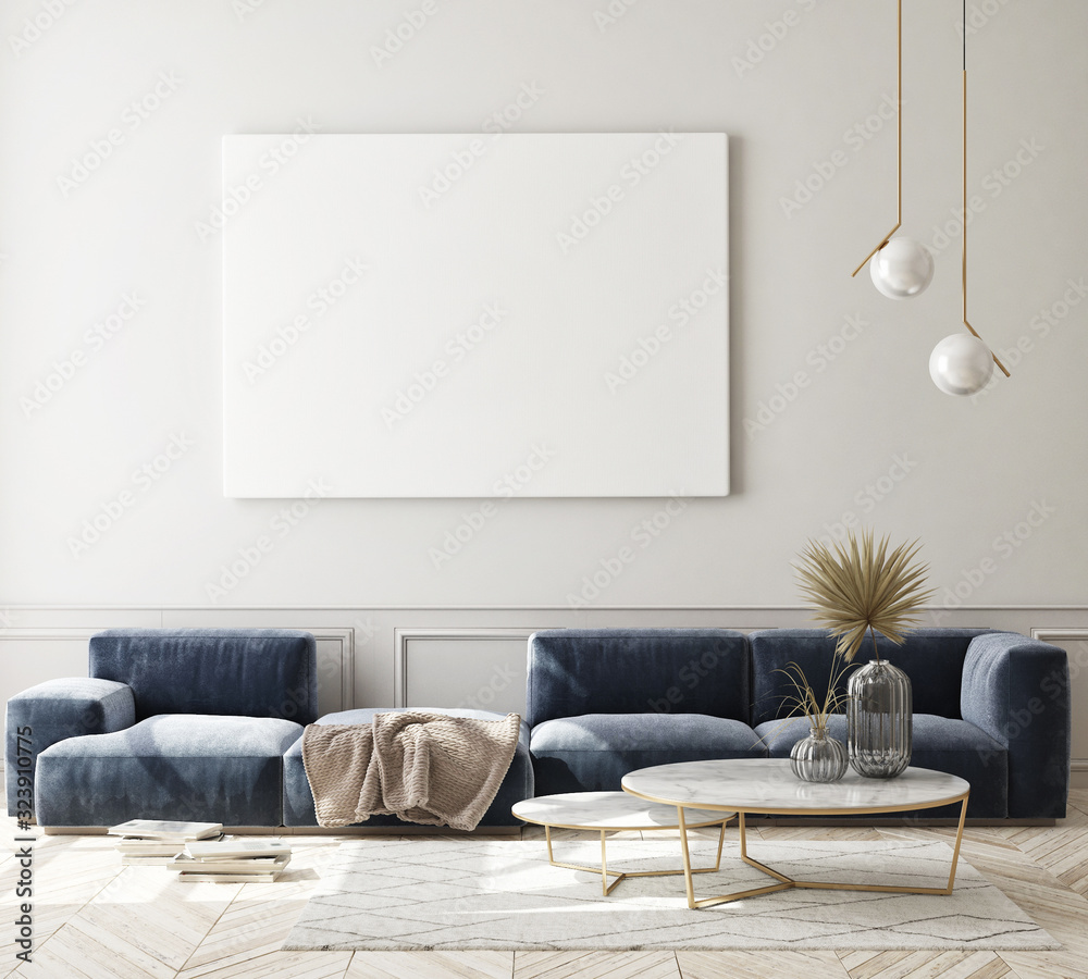 Fototapeta mock up poster frame in modern interior background, living room, Scandinavian style, 3D render, 3D illustration - obraz na płótnie