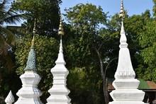 White Stupas With Tree Backdro...