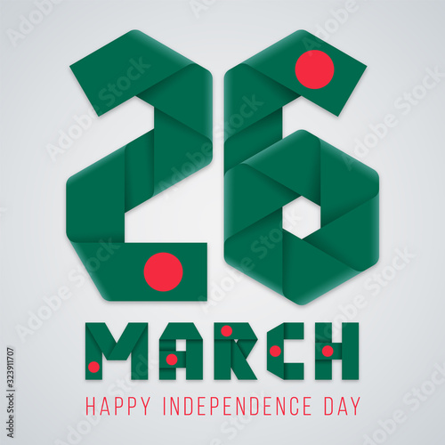 Photo March 26, Independence Day of Bangladesh congratulatory design with Bangladesh flag colors