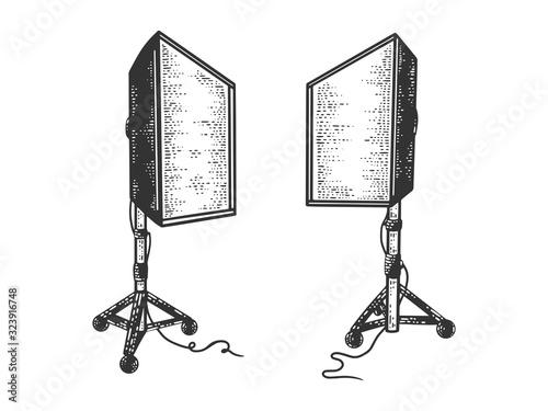 Obraz na plátně Softbox photographic lighting device sketch engraving vector illustration