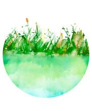 Watercolor Illustration. Backg...