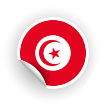 Sticker Of Tunisia Flag With Peel Off Corner Isolated On White Background. Paper Banner Or Circle Curl Label Sticker With Flip Edge. Vector Color Post Note For Advertising Design