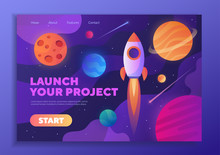 Colorful Web Template - Launch Your Project With A Rocket Zooming Through Space Past Planets And Copy Space For Text, Vector Illustration